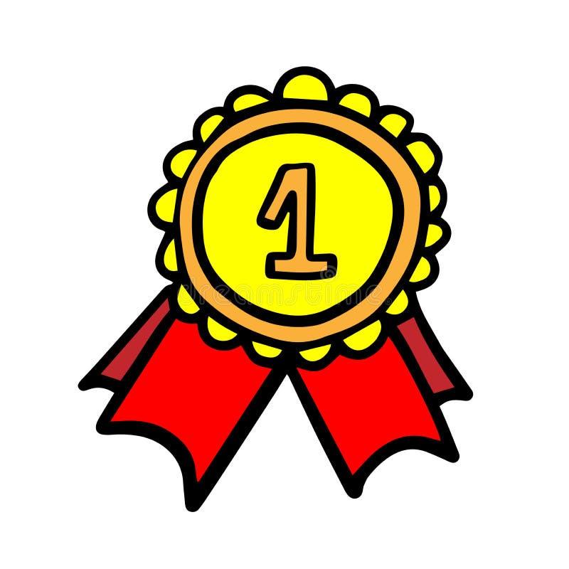 Medal z tasiemkowej ikony wektorowym ilustracyjnym graficznym projektem doodle royalty ilustracja