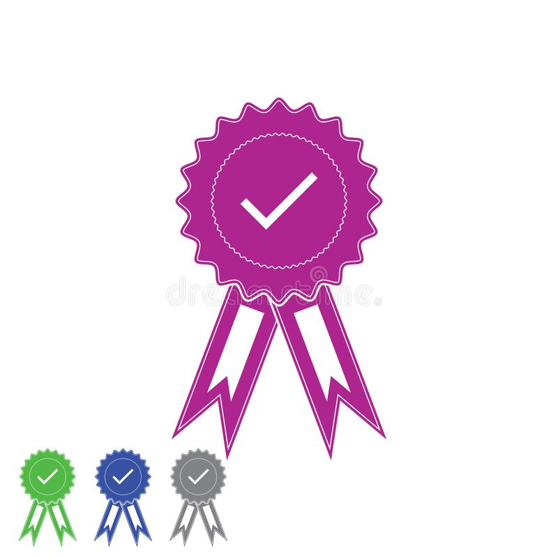 Medal z zatwierdzonym znakiem Czek oceny medal dla sieć projekta wektoru eps10 ilustracja wektor