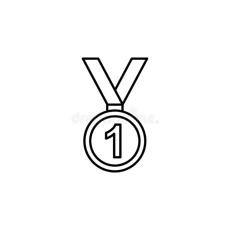 Medal, zwycięzca, zima, sporta konturu ikona Element zima sporta ilustracja Znaki i symbol ikona mogą używać dla sieci, logo royalty ilustracja