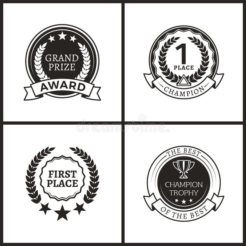 Medale dla Pierwszy miejsca Monochromatycznych logotypów Ustawiających ilustracji