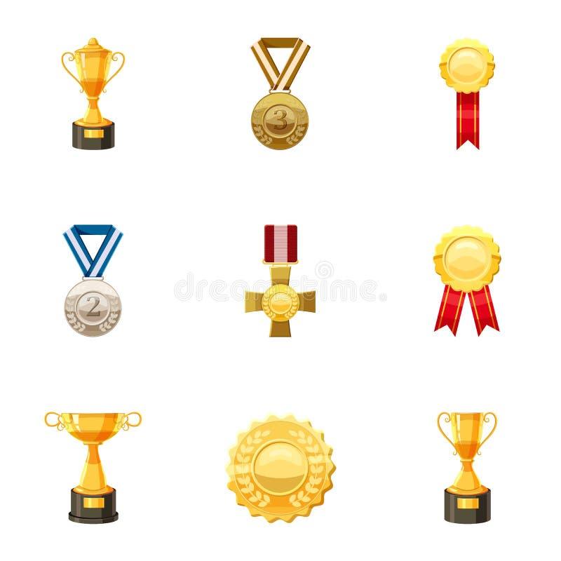 Medale i nagród ikony ustawiać, kreskówka styl ilustracja wektor