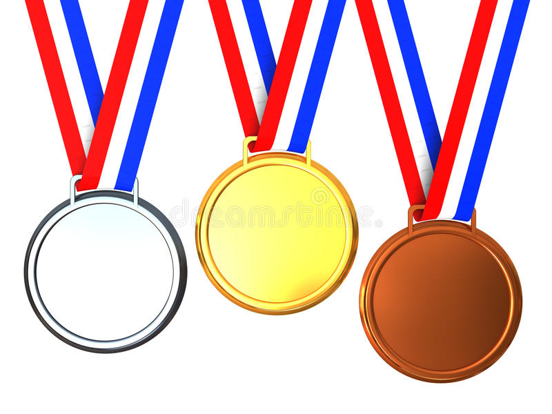 medale trzy ilustracja wektor