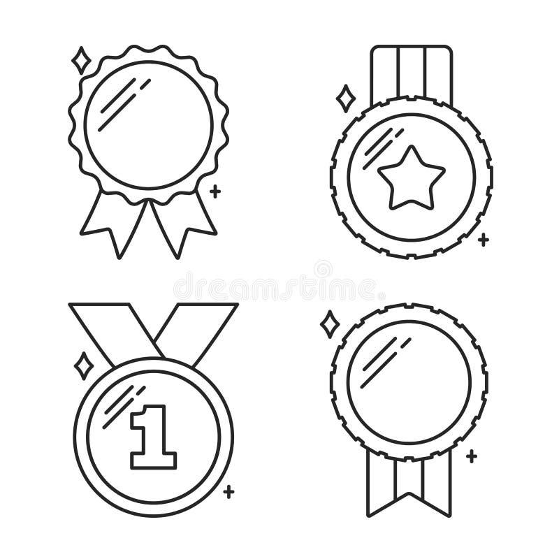 Medale Wykładają ikony ilustracji