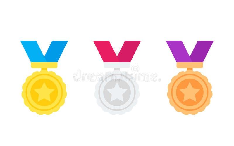 Medale, złoto, srebro, brązowe nagród ikony na bielu ilustracji