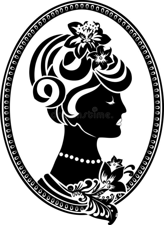 Medalhão da vinheta com perfil fêmea ilustração do vetor