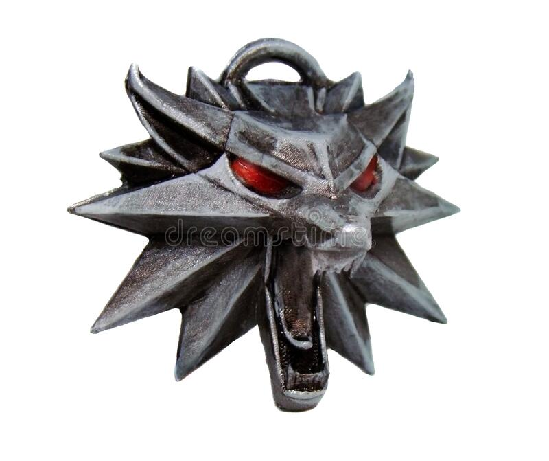 Medalhão de cabeça de lobo-testemunha imagens de stock royalty free