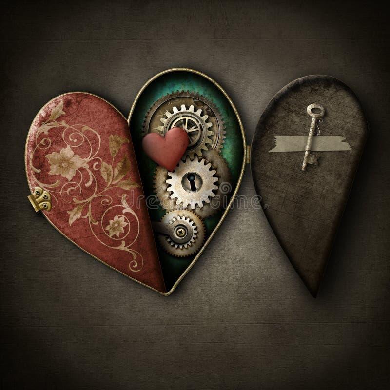 Medalhão do coração de Steampunk no fundo do grunge ilustração do vetor