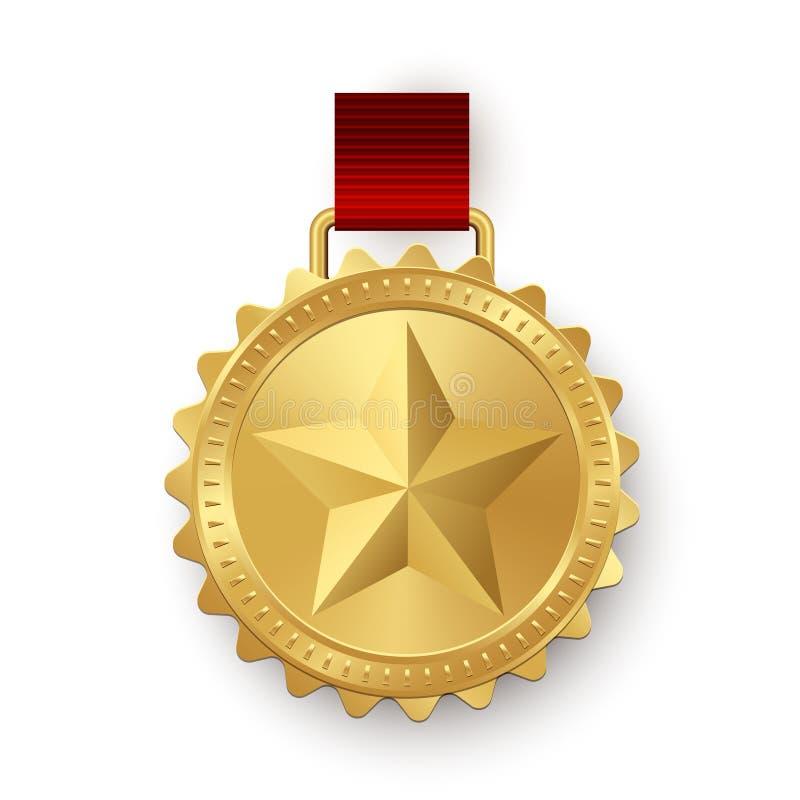 Medalhão dourado do vetor com a estrela que pendura na fita vermelha isolada no fundo branco ilustração royalty free