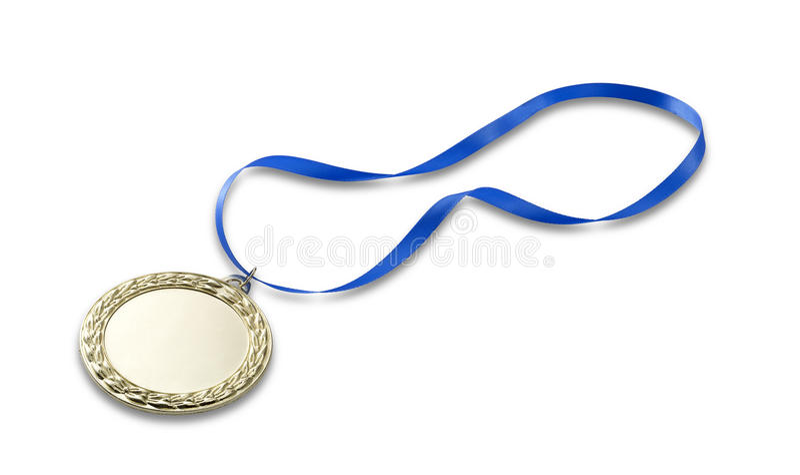Medalha 2 dos olympics do ouro com trajeto de grampeamento foto de stock