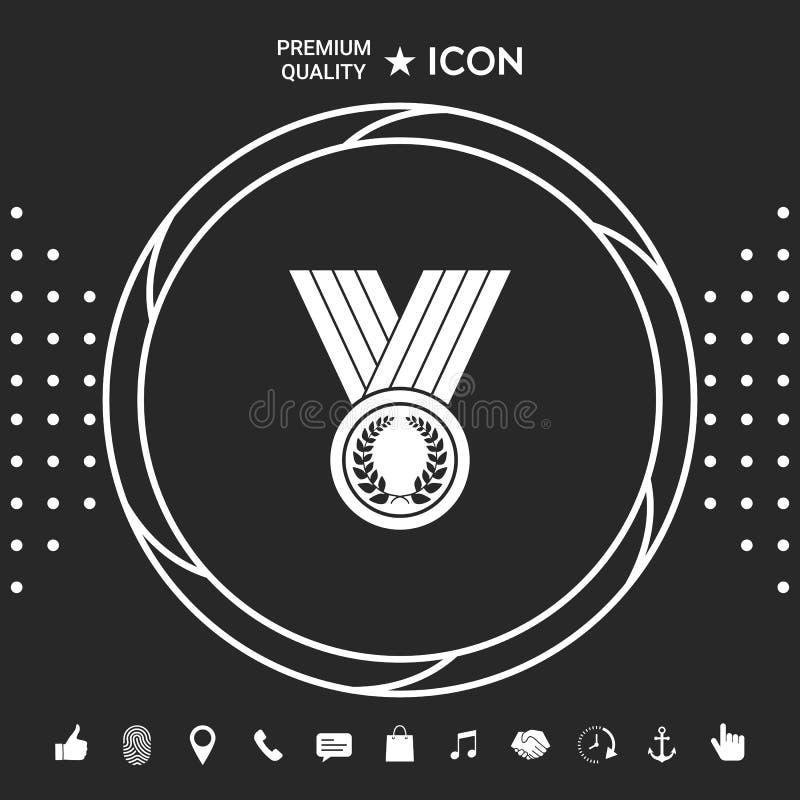 Medalha com grinalda do louro, ícone Elementos gráficos para seu designt ilustração do vetor