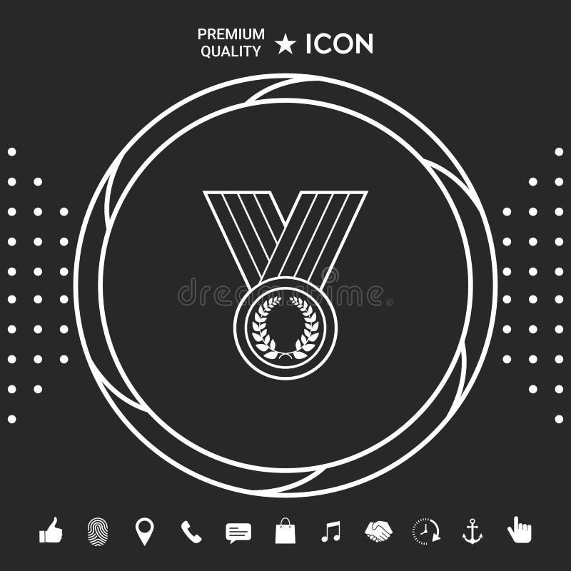 Medalha com grinalda do louro, linha ícone Elementos gráficos para seu designt ilustração royalty free