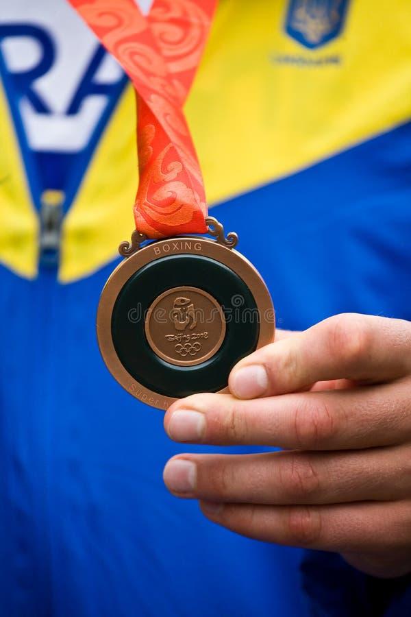 Medalha de bronze olímpica em Beijing fotos de stock royalty free