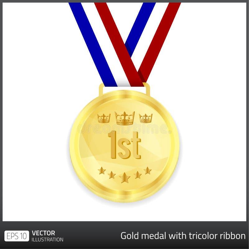 Medalha de ouro com fita tricolor ilustração do vetor