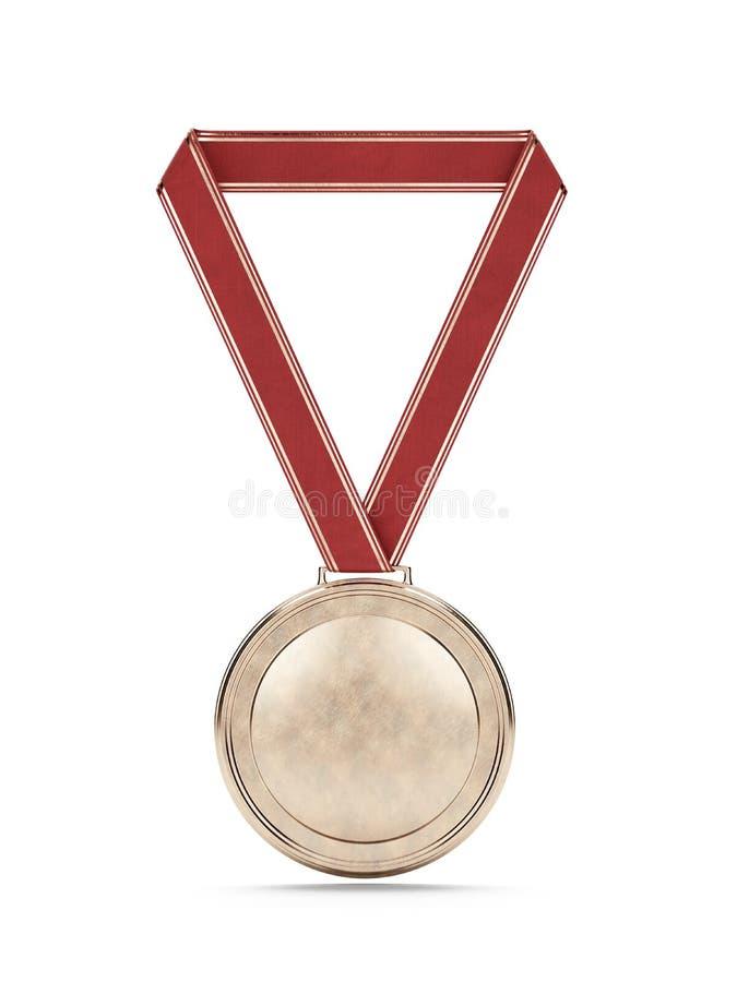 Medalha de ouro com fita vermelha foto de stock