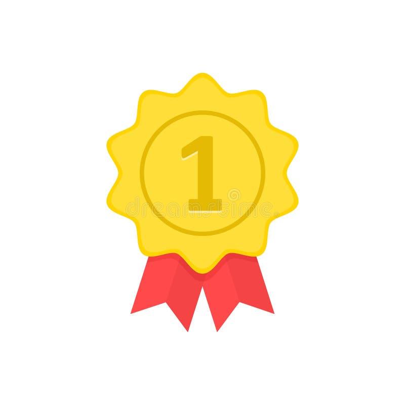 Medalha de ouro com fitas vermelhas Primeiro lugar, vencedor, prêmio, conceitos Ilustração do vetor ilustração do vetor