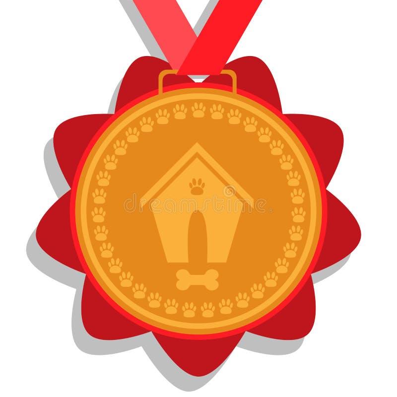 Medalha de ouro do cão prêmio com fita vermelha com uma imagem de uma casa de cachorro, dos ossos e das marcas do pé ilustração stock