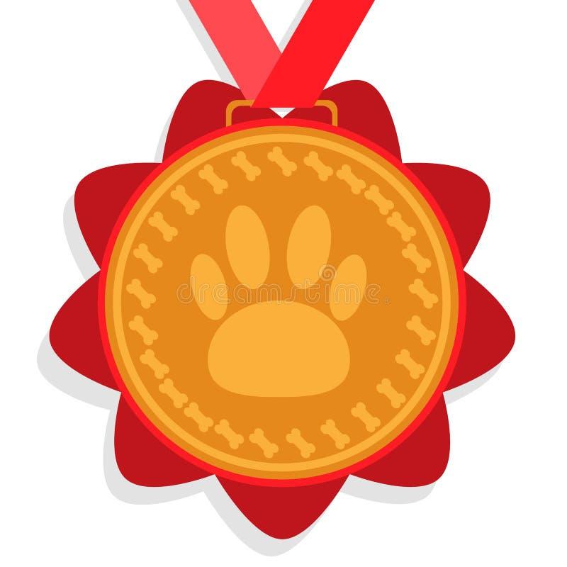 Medalha de ouro do cão prêmio com fita vermelha com uma imagem de uma marca e dos ossos do pé ilustração royalty free