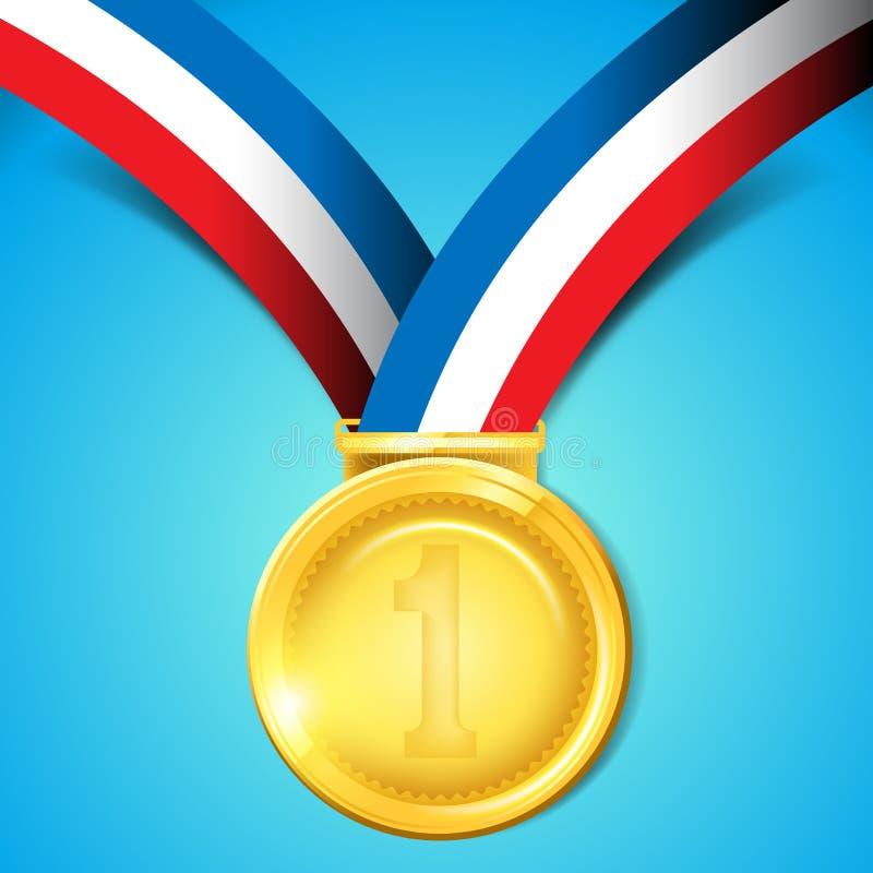 Medalha de ouro do número um ilustração stock