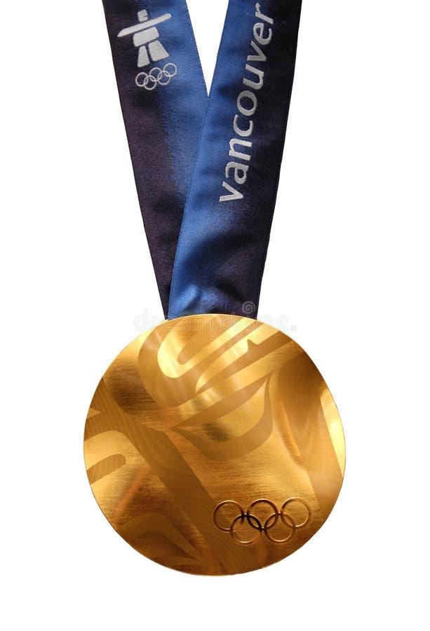 Medalha de ouro dos Olympics de Vancôver 2010 fotografia de stock