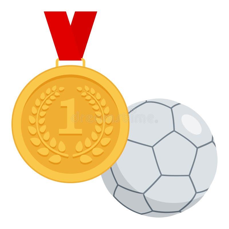 Medalha de ouro e ícone liso da bola de Futsal ilustração do vetor