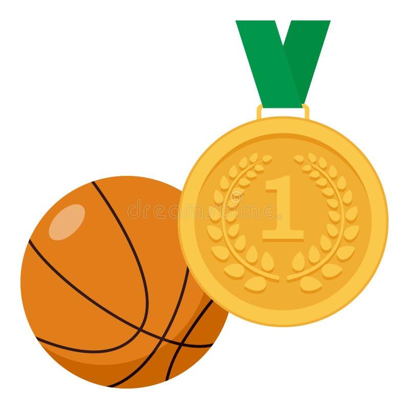 Medalha de ouro e ícone liso da bola do basquetebol ilustração royalty free