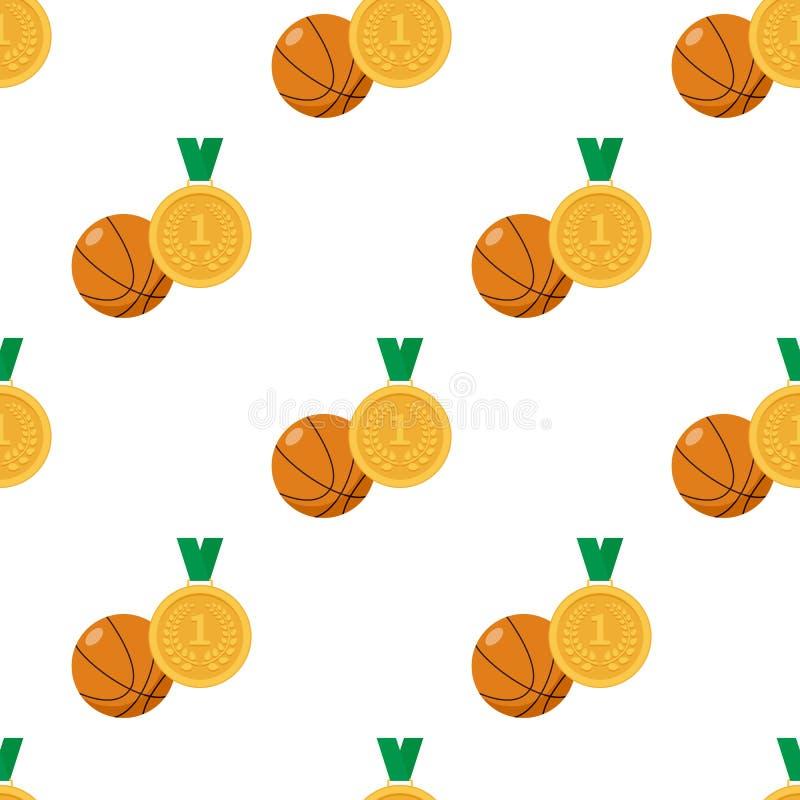 Medalha de ouro e bola do basquetebol sem emenda ilustração royalty free