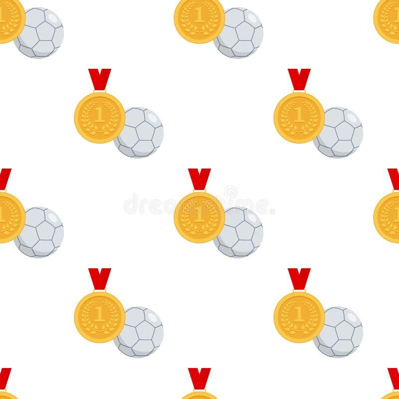 Medalha de ouro e bola de Futsal sem emenda ilustração stock