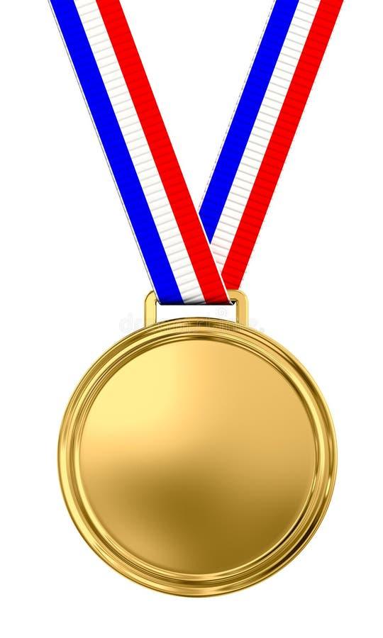 Medalha de ouro em branco ilustração royalty free