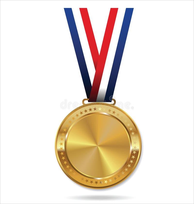 Medalha de ouro em branco com fita tricolor foto de stock