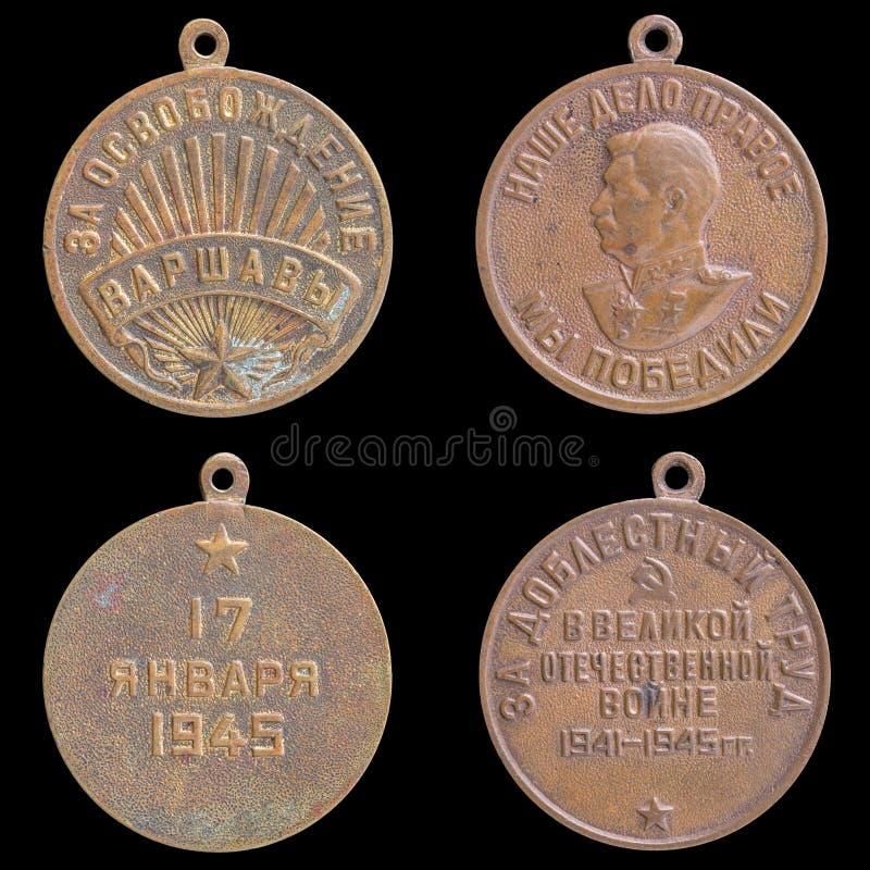 Medalha de URSS em um fundo preto imagens de stock royalty free