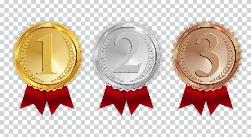 Medalha do ouro do campeão, a de prata e a de bronze com sinal vermelho do ícone da fita primeiramente, grupo da coleção do lugar ilustração royalty free