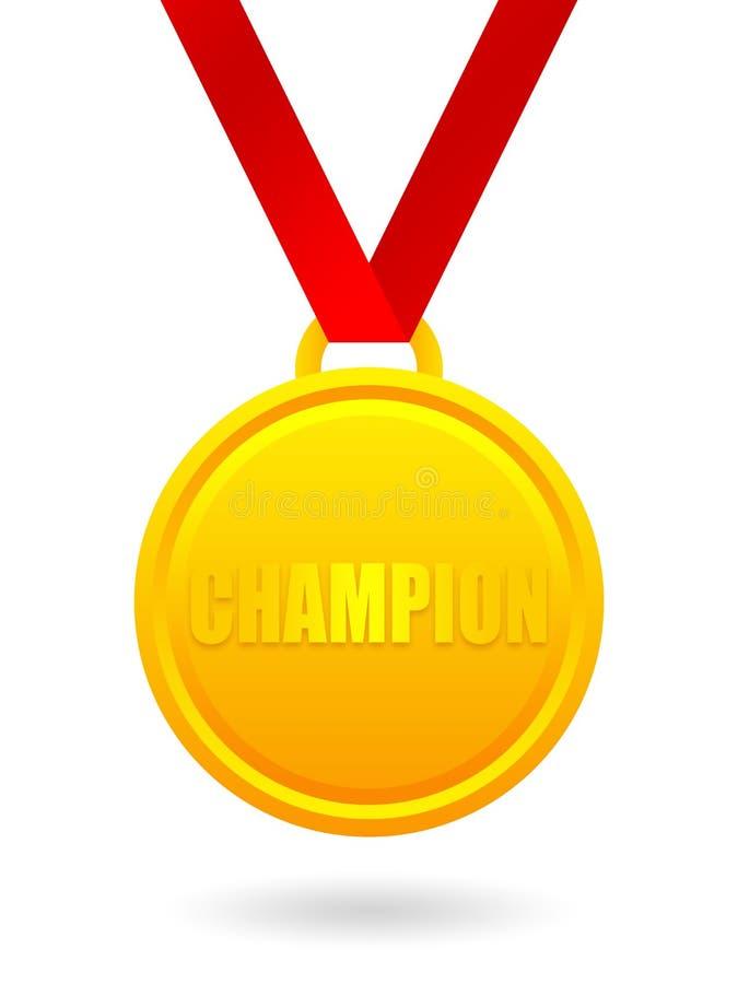 Medalha dourada do campeão ilustração royalty free