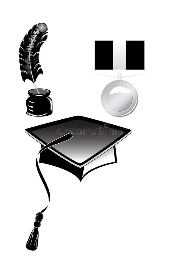 Medalha e inkwell do chapéu com pena ilustração stock