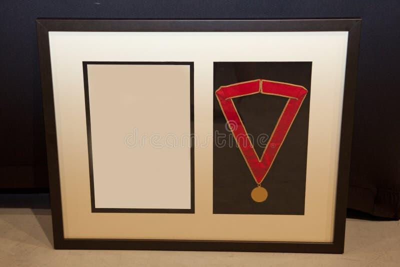 Medalha e quadro da concessão fotografia de stock royalty free