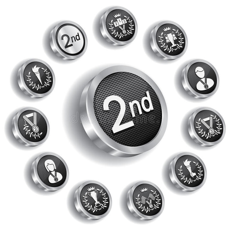 Medalha olímpica de prata ajustada (ícones) ilustração do vetor