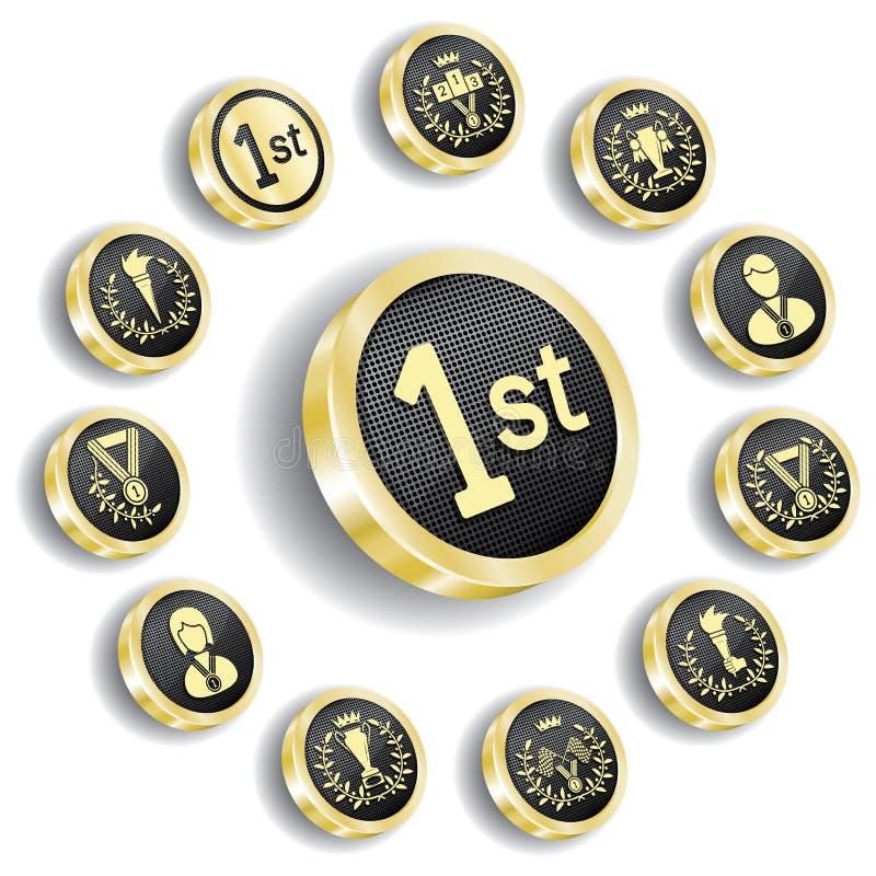 A medalha olímpica dourada (ícone) ajustou-se ilustração stock