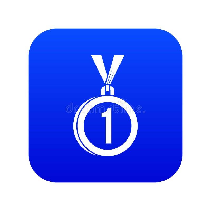 Medalha para o azul digital do primeiro ícone do lugar ilustração stock
