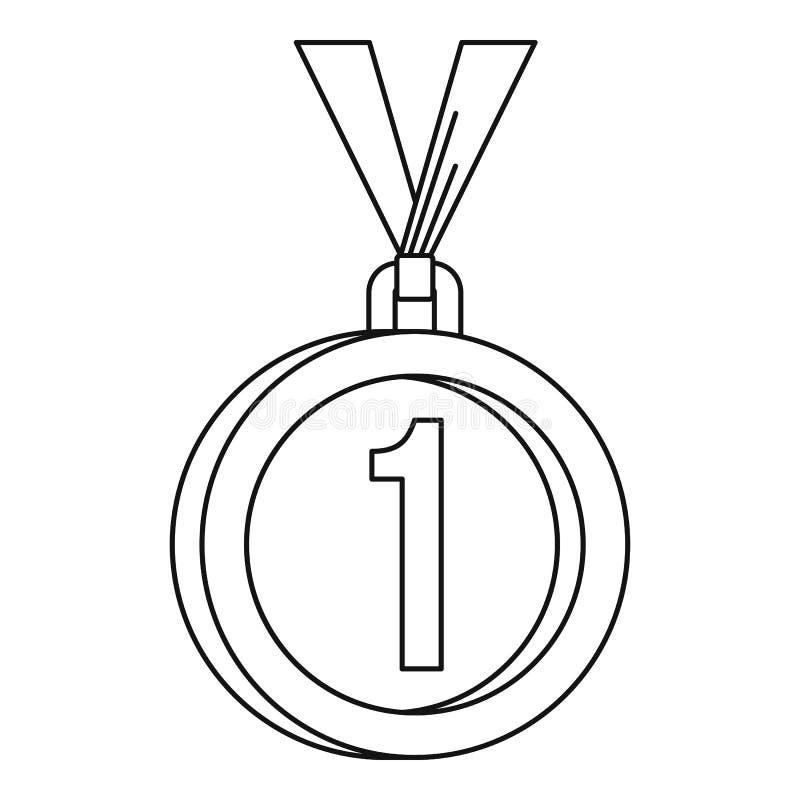 Medalha para o primeiro ícone do lugar, estilo do esboço ilustração stock