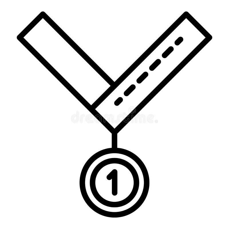 Medalha para o primeiro ?cone do lugar, estilo do esbo?o ilustração do vetor