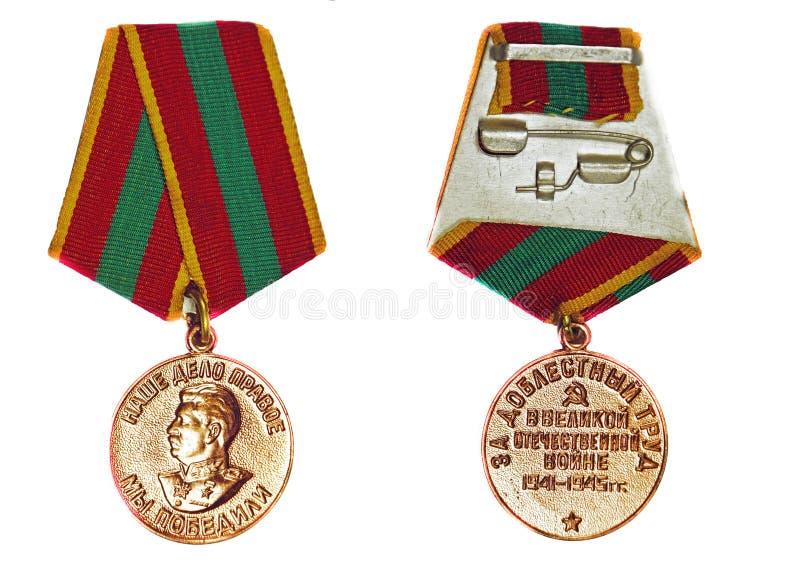 Medalha para o trabalho valorous na grande guerra patriótica de 1941-1945 imagens de stock