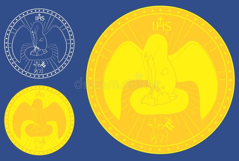 medalha Pelicano divino Símbolo sagrado do cristão ilustração do vetor