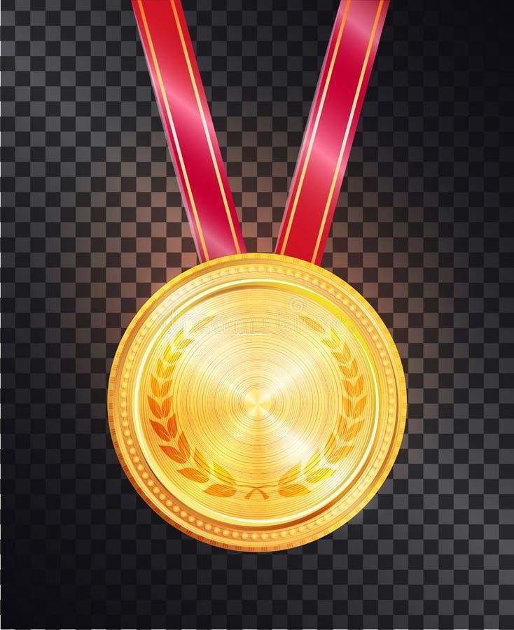 Medalha redonda do ouro nobre na fita vermelha lustrosa brilhante ilustração do vetor