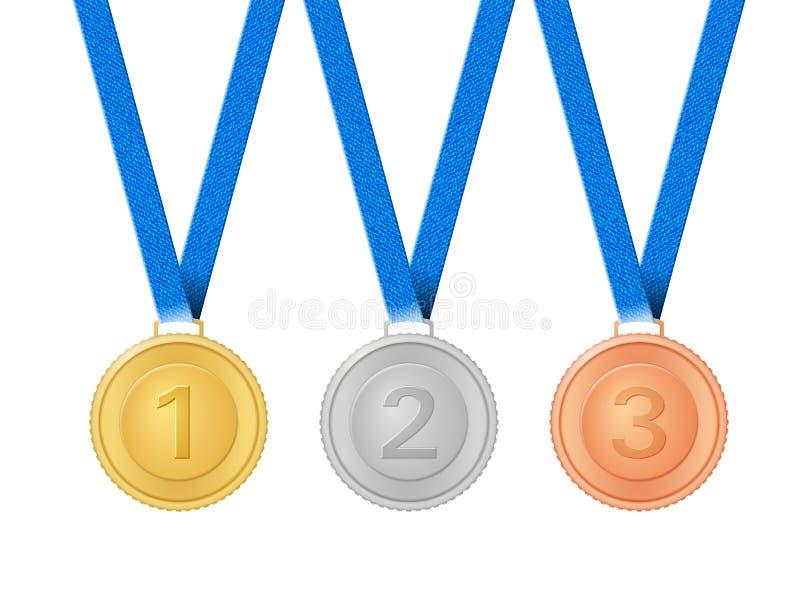 Medalhas ajustadas ilustração do vetor