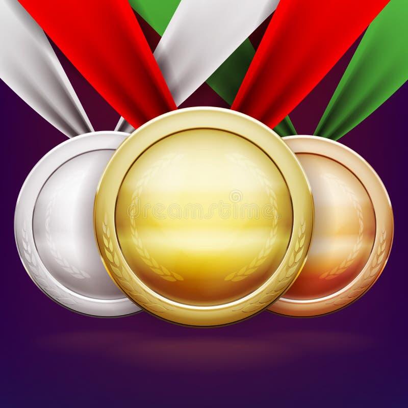Medalhas ajustadas Concessões da prata e do bronze do ouro para o campeão do desafio ilustração stock
