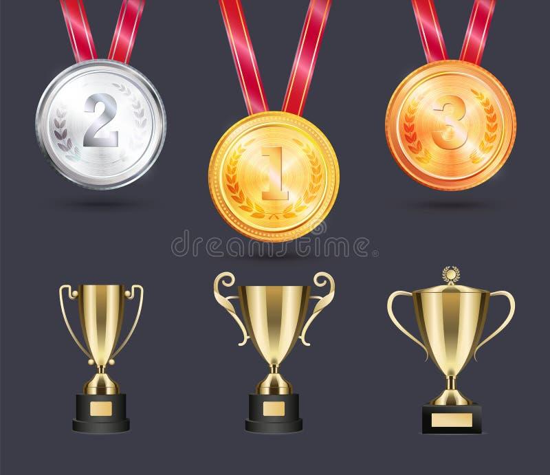 Medalhas brilhantes e copos dourados para vitórias desportivos ilustração do vetor