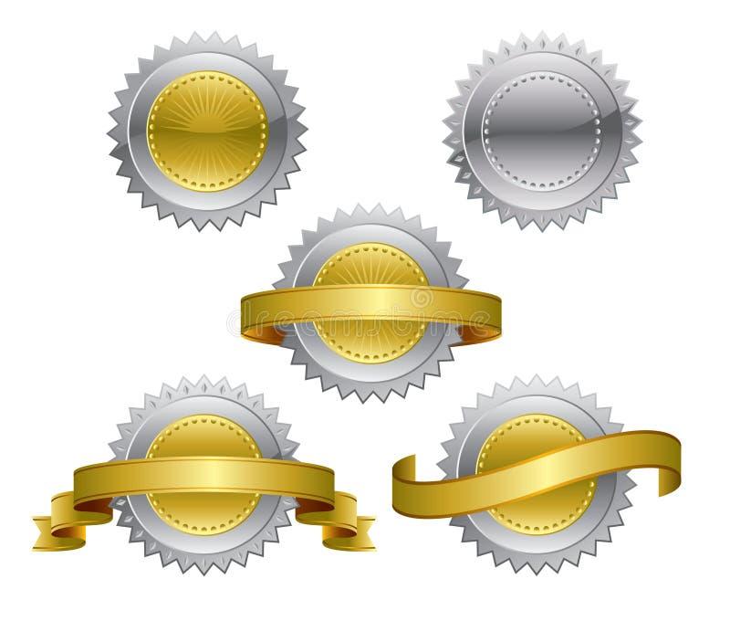 Medalhas da concessão - ouro, prata, ilustração royalty free