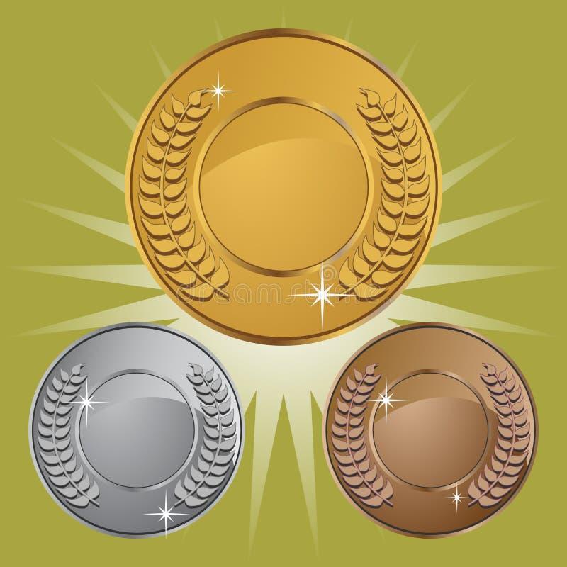 Medalhas da moeda com fundo ilustração stock