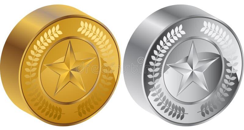 medalhas da moeda da estrela 3D ilustração stock
