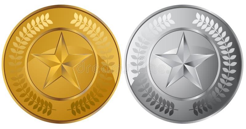 Medalhas da moeda da estrela ilustração do vetor