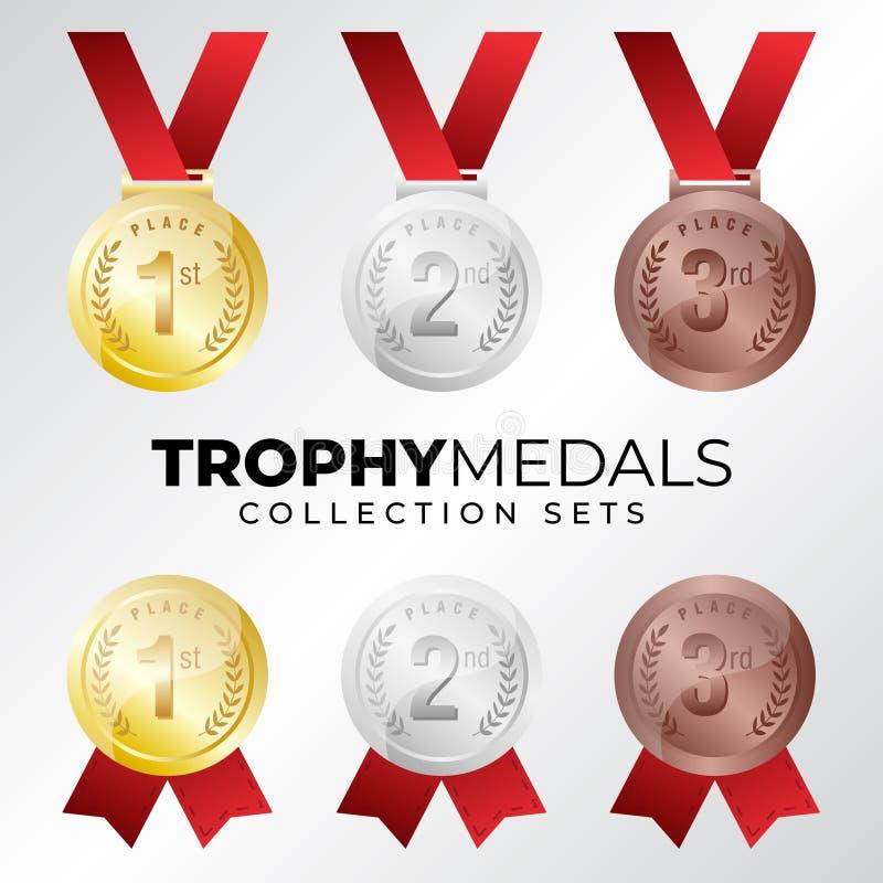 Medalhas de bronze de prata do ouro, grupos da coleção do troféu ilustração stock